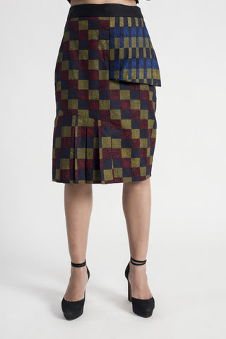 Flute Diagonal Pleated Skirt