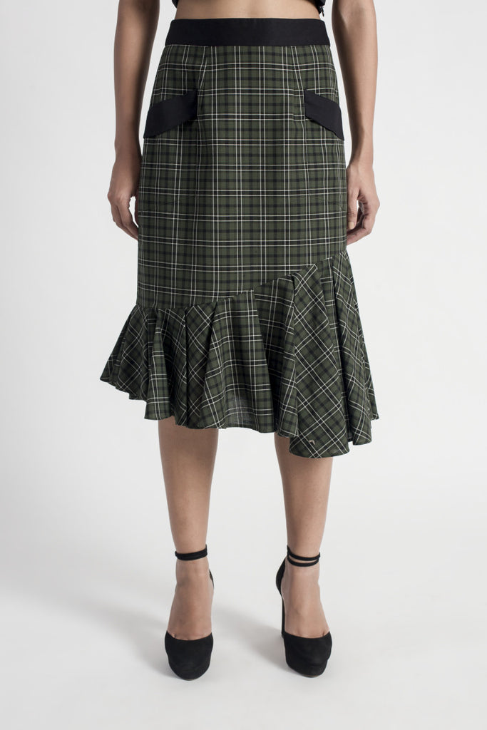 Checkered Ruffle Midi Skirt
