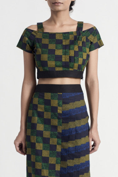 Checkered Pleated Skirt with Crop Top