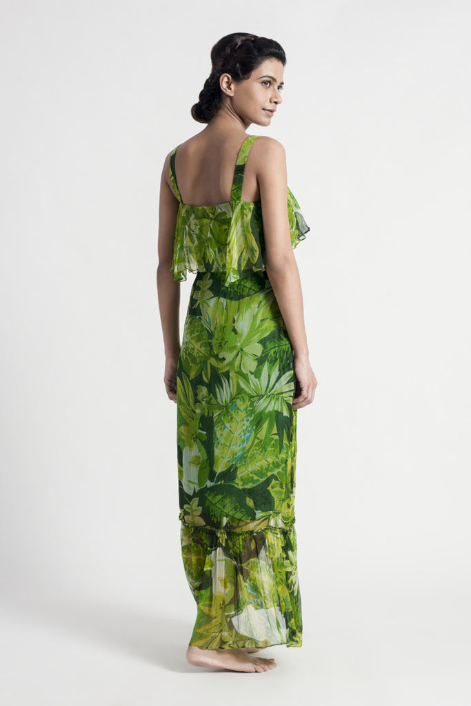 Green Floral Chiffon Maxi Dress