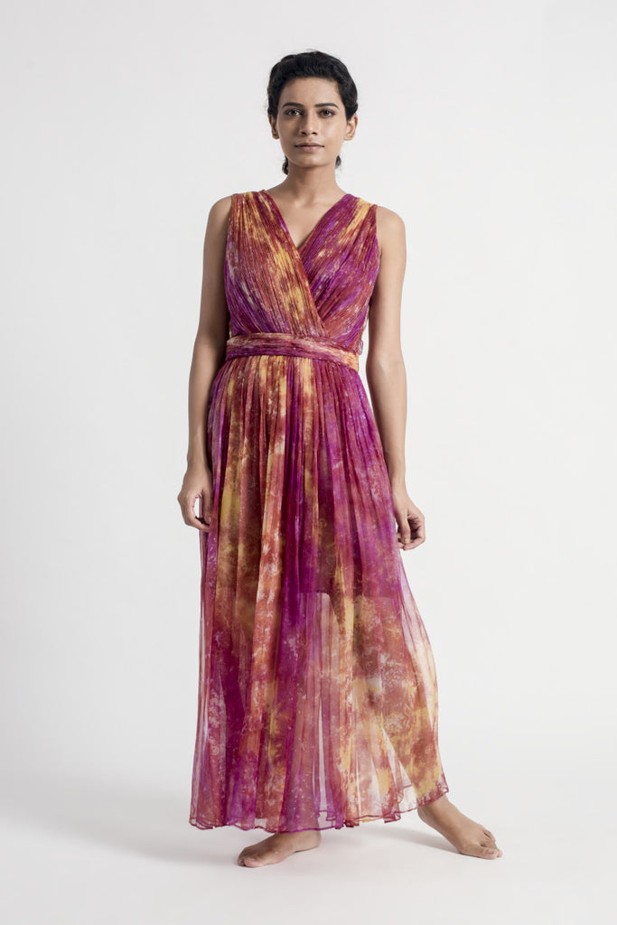 Pink Abstract Print Ruched Dress
