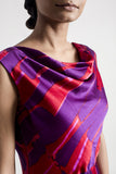 Cowl Neck Silk Satin Dress