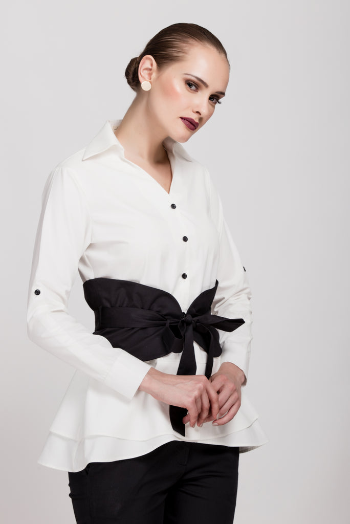 Timeless White Shirt with Corset Belt