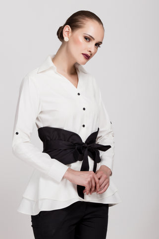 White Half Sleeve Shirt with Standing Collar