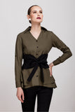Timeless Olive Shirt with Corset Belt