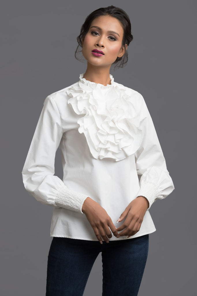 White Front Ruffle Top