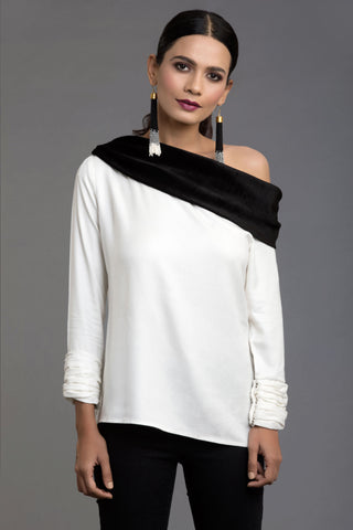 Grey Enchanted Cowl Neck Top