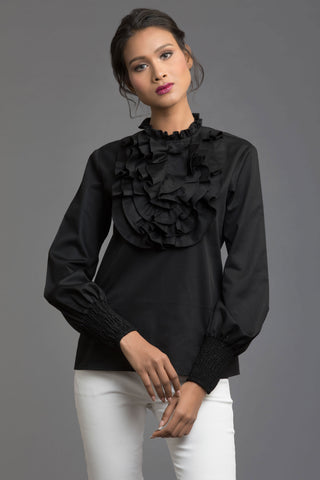 High Slit Sleeve Collared One Shoulder Top