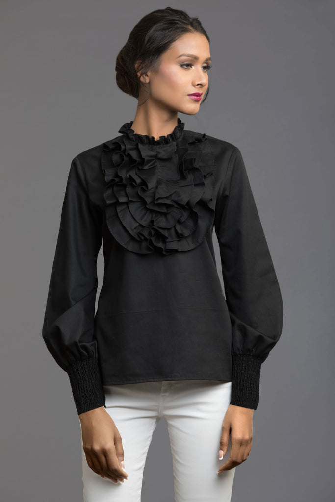 Black Front Ruffle Top