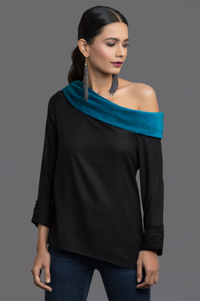 Teal Plush Play Velvet Top