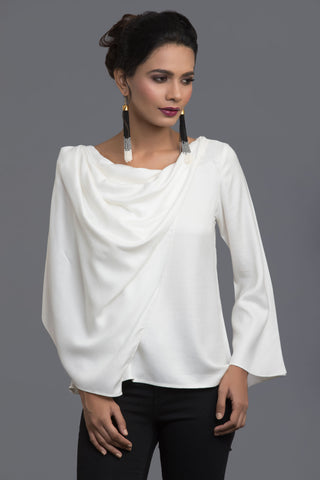 White Scarf Story Top