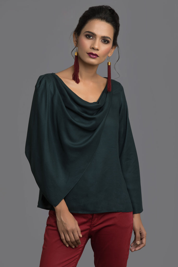 Bottle Green Scarf Story Top