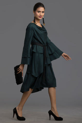 Bottle Green Autumn Odyssey Layered Dress