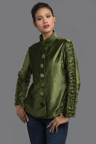 Green Velvet Band Collar Top