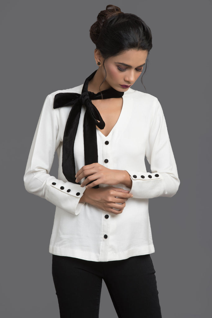 White Dream Scheme Neck Tie Top