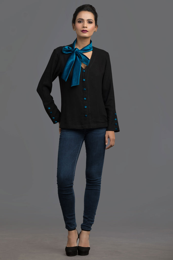 Teal Dream Scheme Neck Tie Top