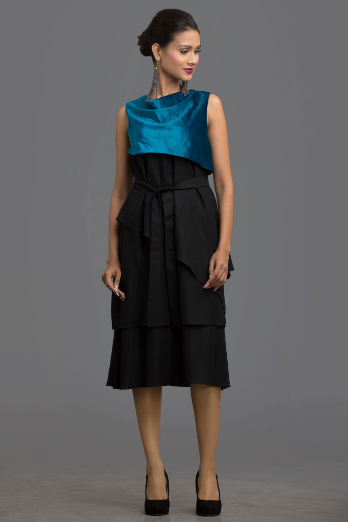 Teal Artistry Layered Dress