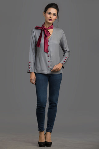 Burgundy Dream Scheme Neck Tie Top