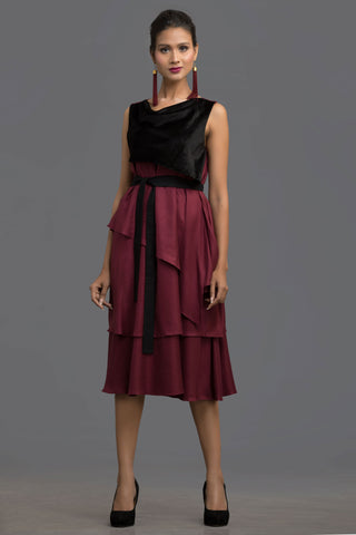 Wine Autumn Odyssey Layered Dress