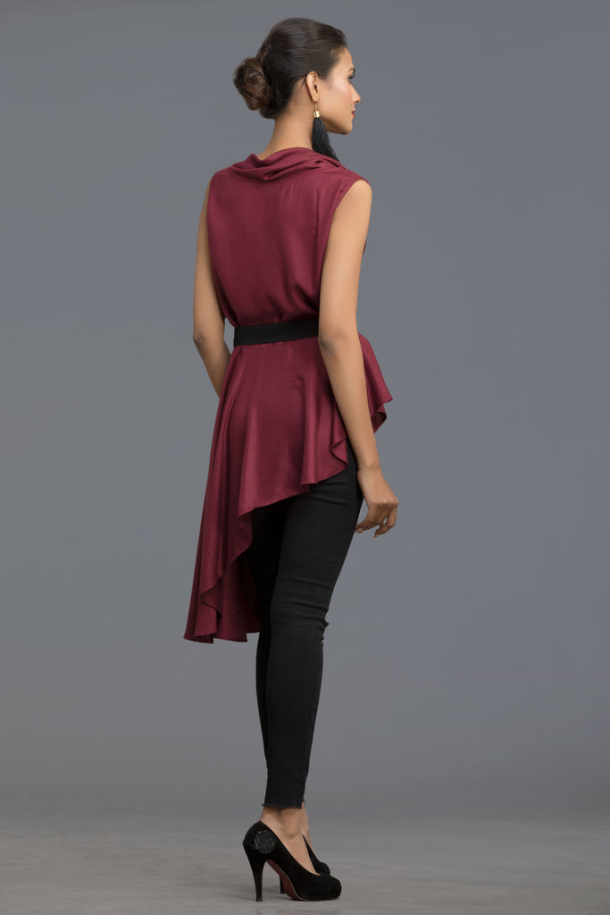 Wine Enchanted Cowl Neck Top