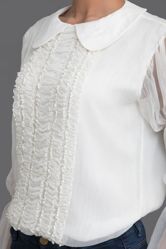 White Front Ruched Chiffon Top