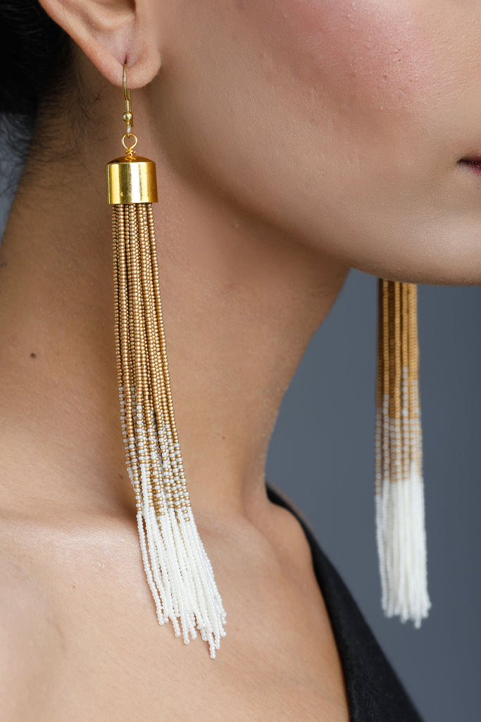 White & Gold Cosmos Tassel Earrings