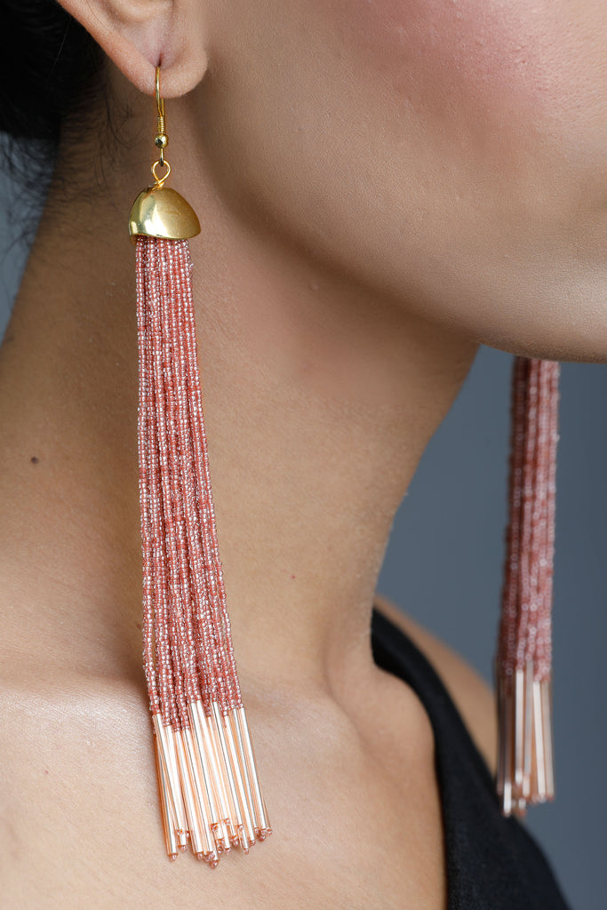 Dust Pink Celestial Tassel Earrings