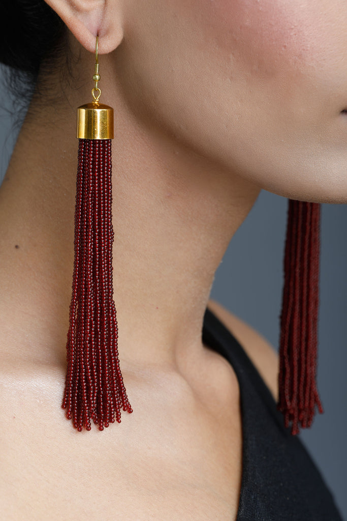 d1a7d3670 Deep Red Cosmos Tassel Earrings | Tuned In Living
