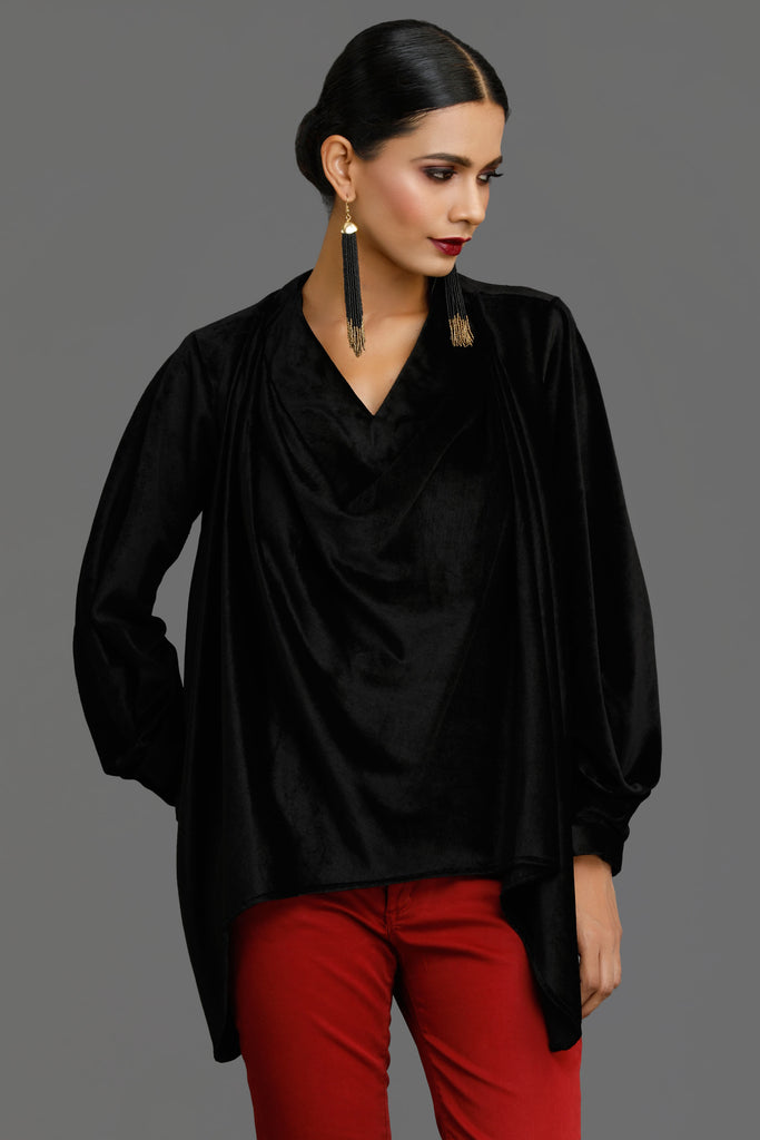 Black Velvet Cowl Neck Top