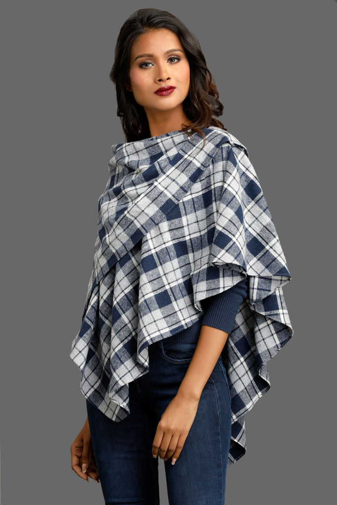 Navy Autumn Thinker Double Layered Cape