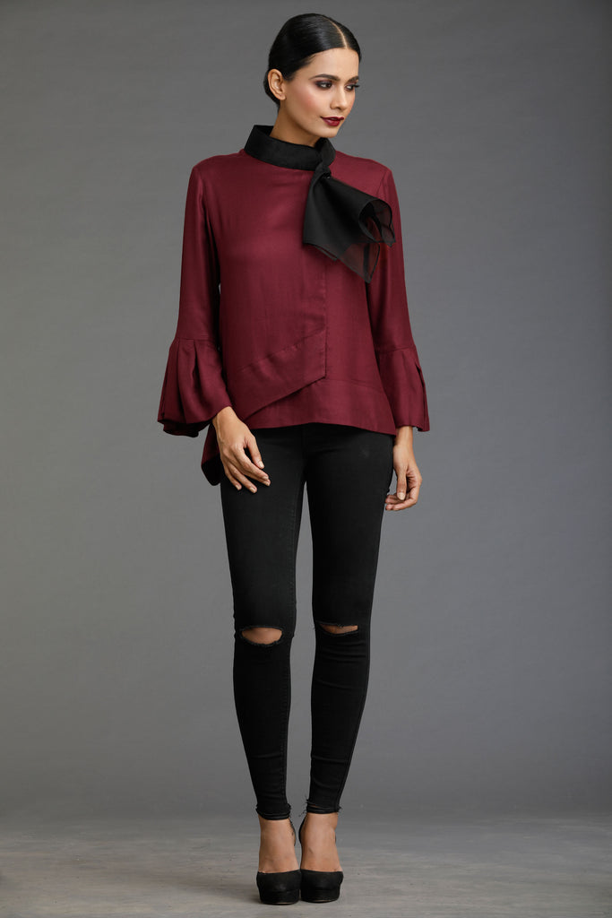 Burgundy Two Toned Tale Organza Scarf Top