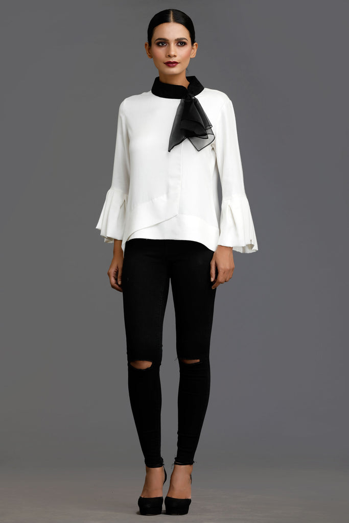 White Two Toned Tale Organza Scarf Top