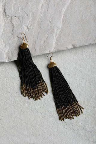 Black & Gold Celestial Tassel Earrings
