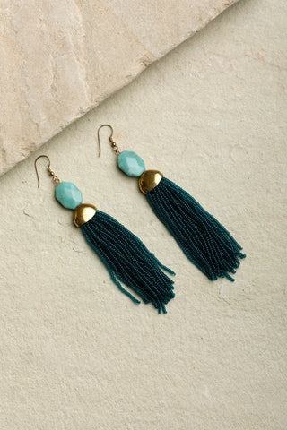 Teal Green Lunar Tassel Earrings