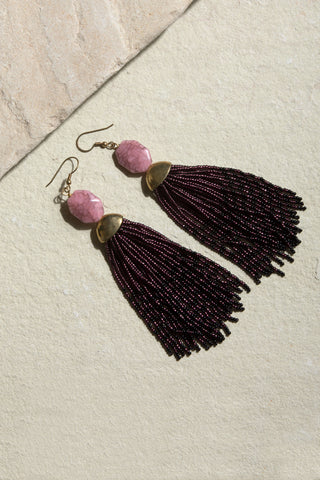 Plum Lunar Tassel Earrings