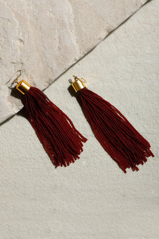 Deep Red Cosmos Tassel Earrings