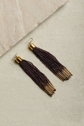 Plum & Gold Cosmos Tassel Earrings
