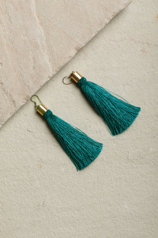 Green Classic Tassel Earrings