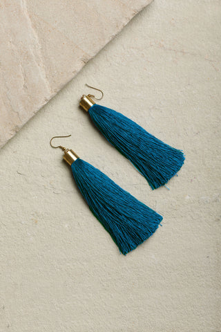 Turquoise Blue Statement Tassel Earrings