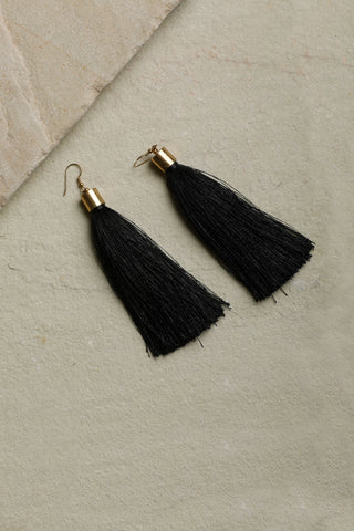 Black Statement Tassel Earrings
