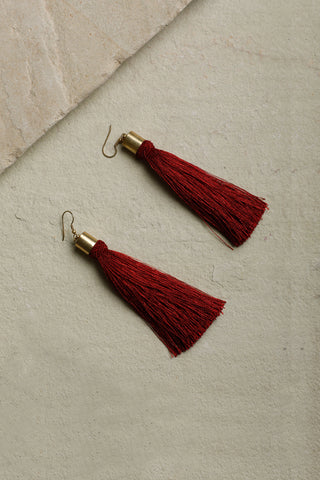 Red Classic Tassel Earrings