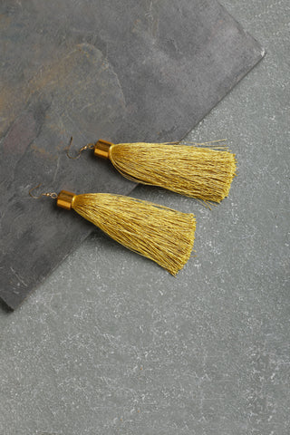 Gold Statement Tassel Earrings