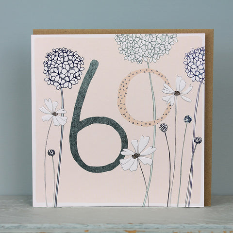 60th Birthday card  - flowers (FB83)