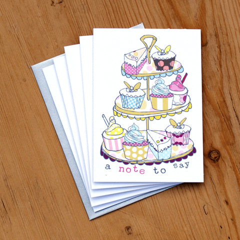 5 Mini Card Pack - cakestand note to say (MP14)