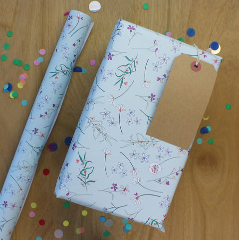 Botanical flowers on light blue Gift Wrap (WR43)