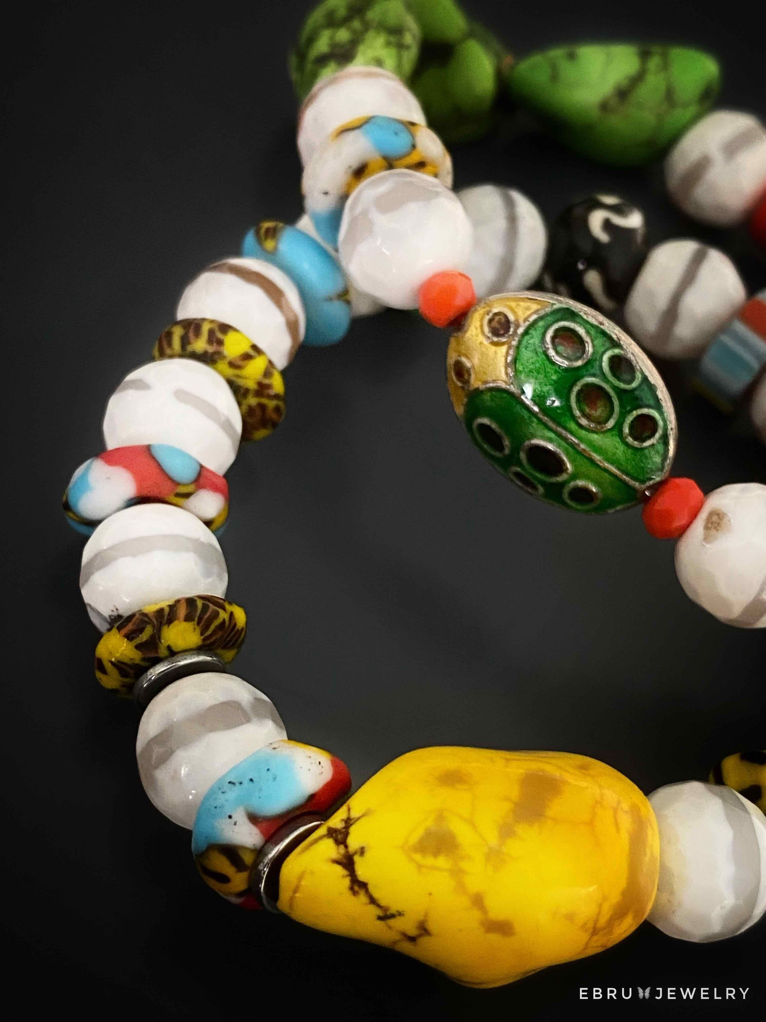 African Lady Bug Bracelet Set - EBRU JEWELRY