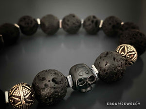 Black Lava Skull Men Bracelet - EBRU JEWELRY