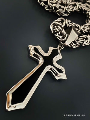 Black and Silver Cross Necklace - EBRU JEWELRY