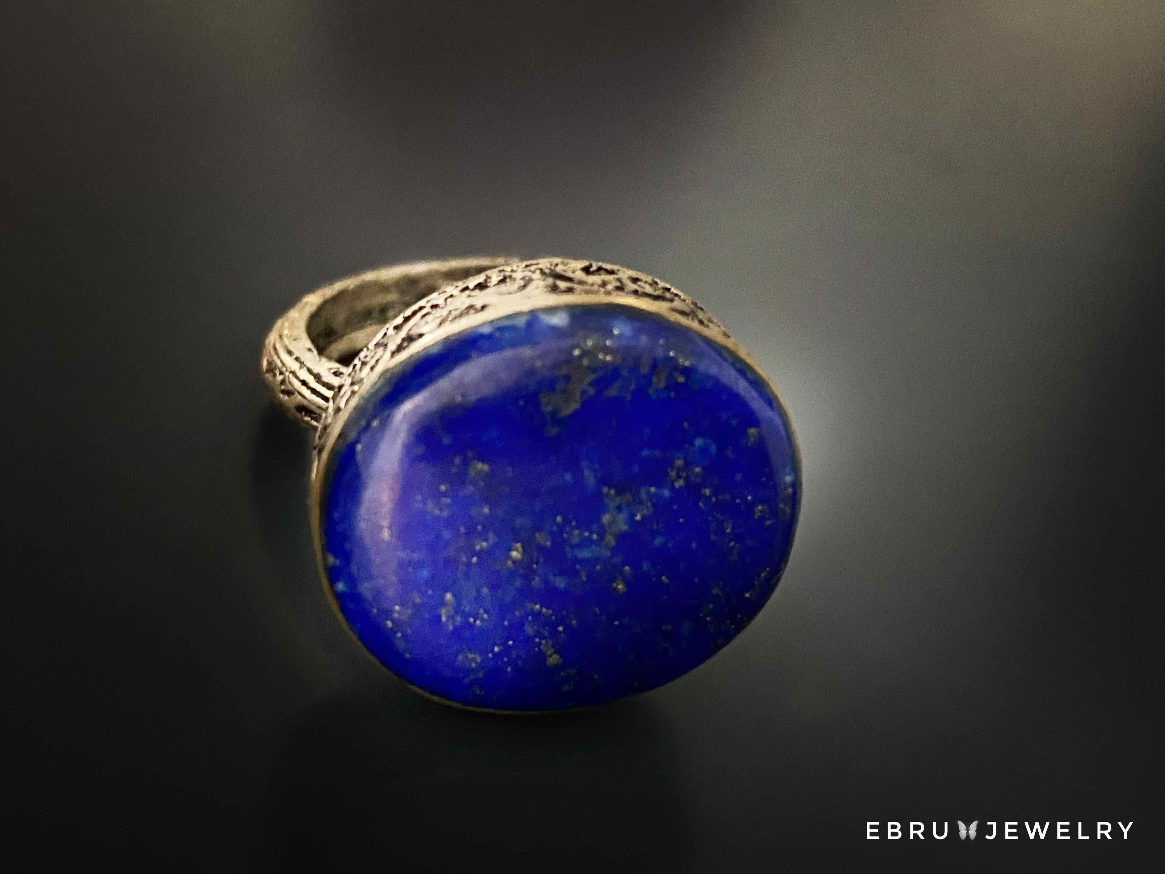 Blue Lapis Lazuli Antique Ring - EBRU JEWELRY