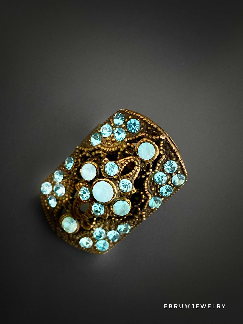 Blue Vintage Style Ring - EBRU JEWELRY